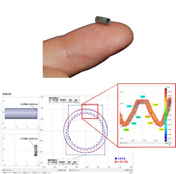 μ-MIMにより実現した、微小内歯歯車とその断面プロファイル