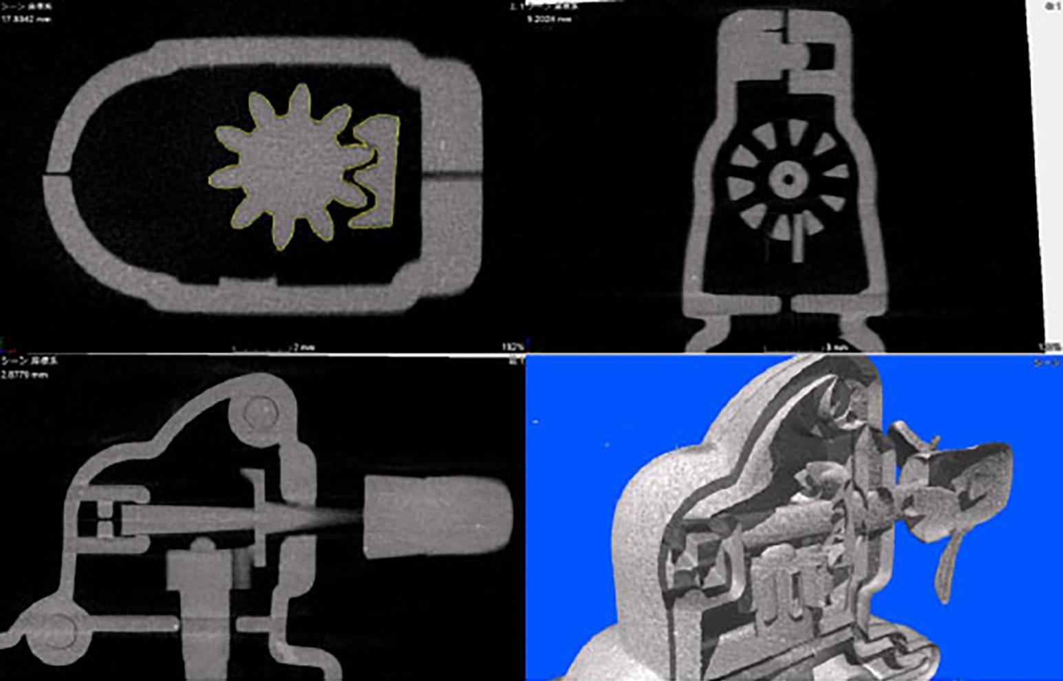 組み込まれたギアのX線CTによる測定イメージ